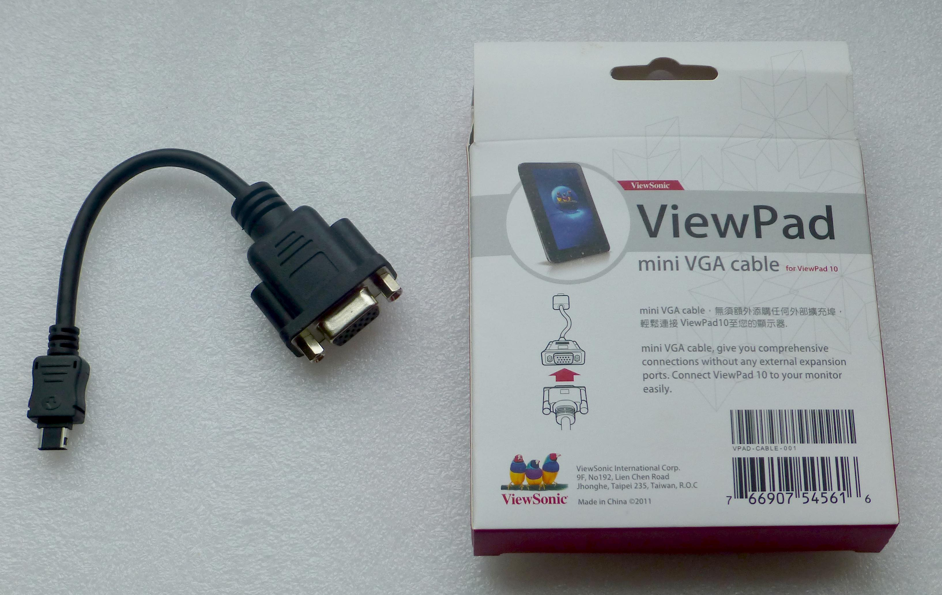 viewpad mini vga kabel f r viewpad 10 neuware ebay. Black Bedroom Furniture Sets. Home Design Ideas